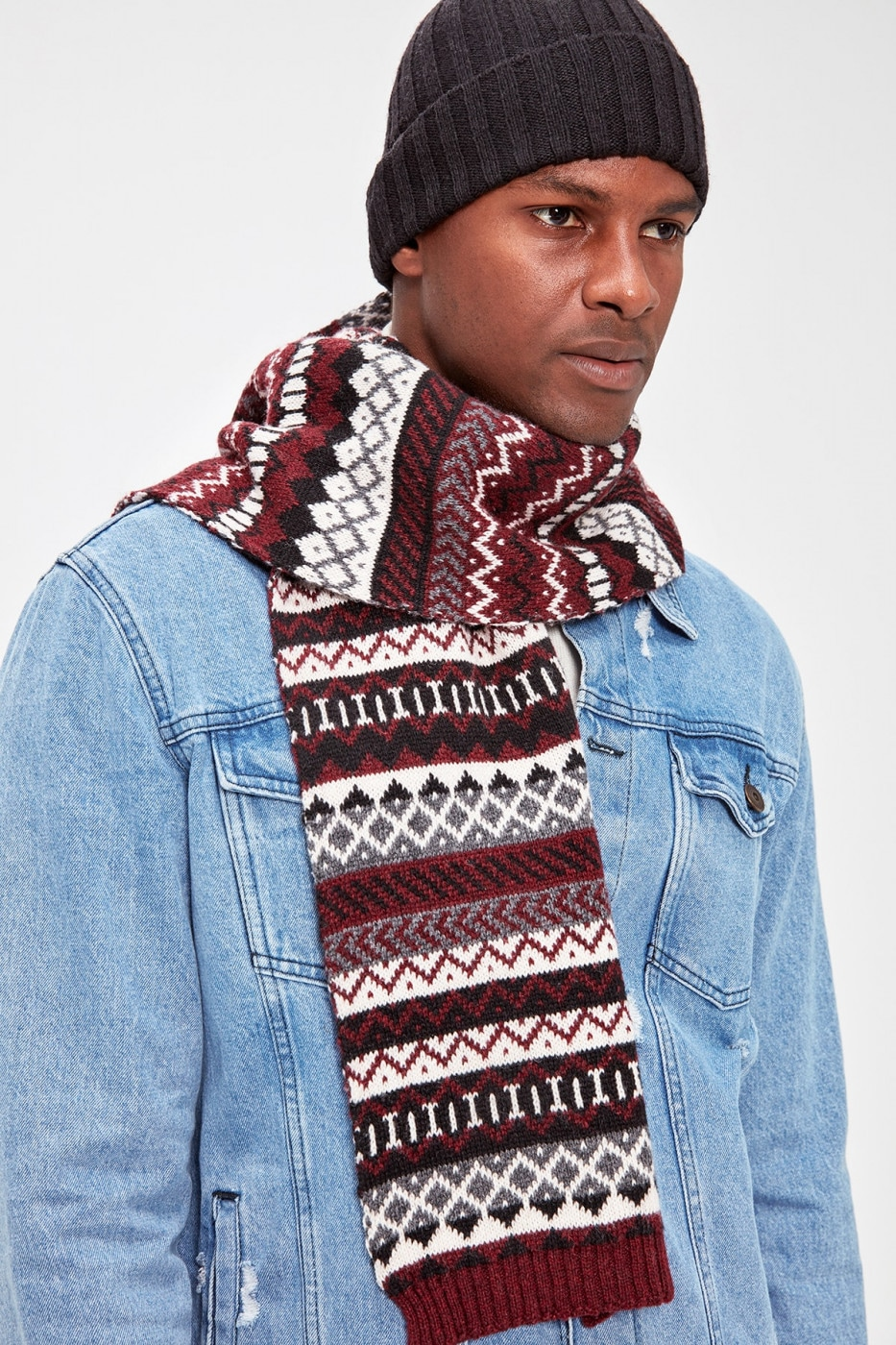 Trendyol Burgundy Men's Scarf Beret Team Scarf