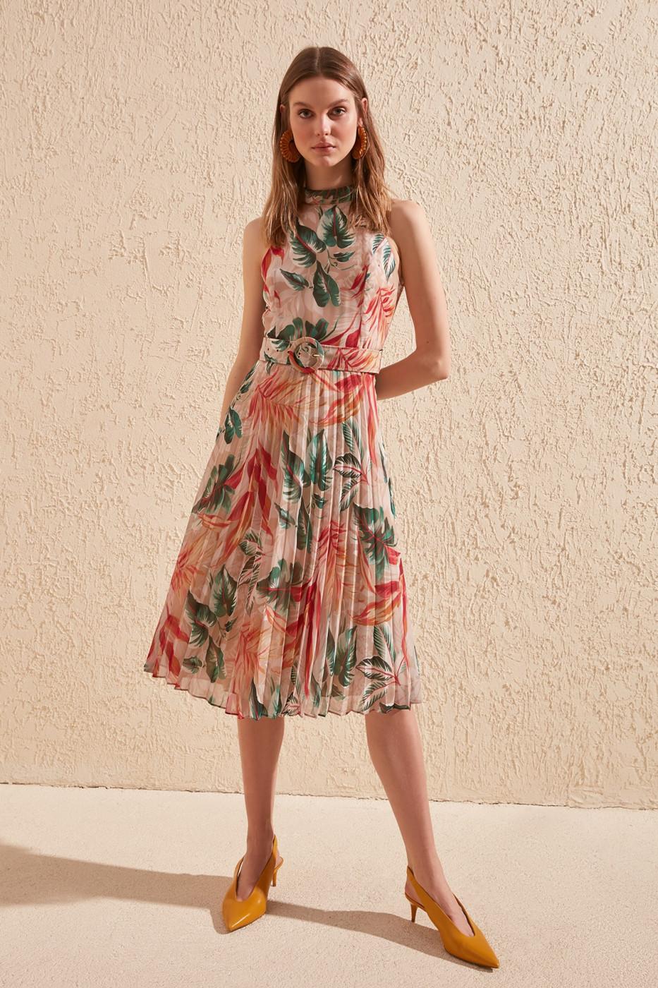 Trendyol Multi-Color Belt Patterned Dress