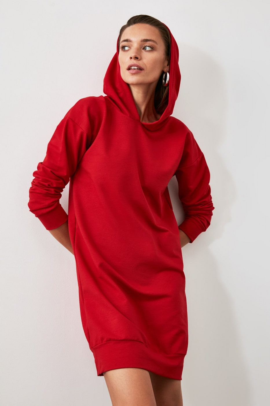 Trendyol Red Hooded Back Printed Mini Knitted Dress