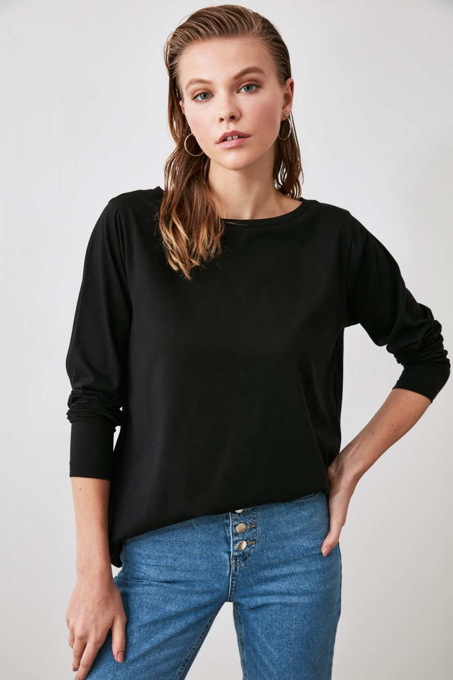 Trendyol Black Boat Collar Basic Knitted T-Shirt