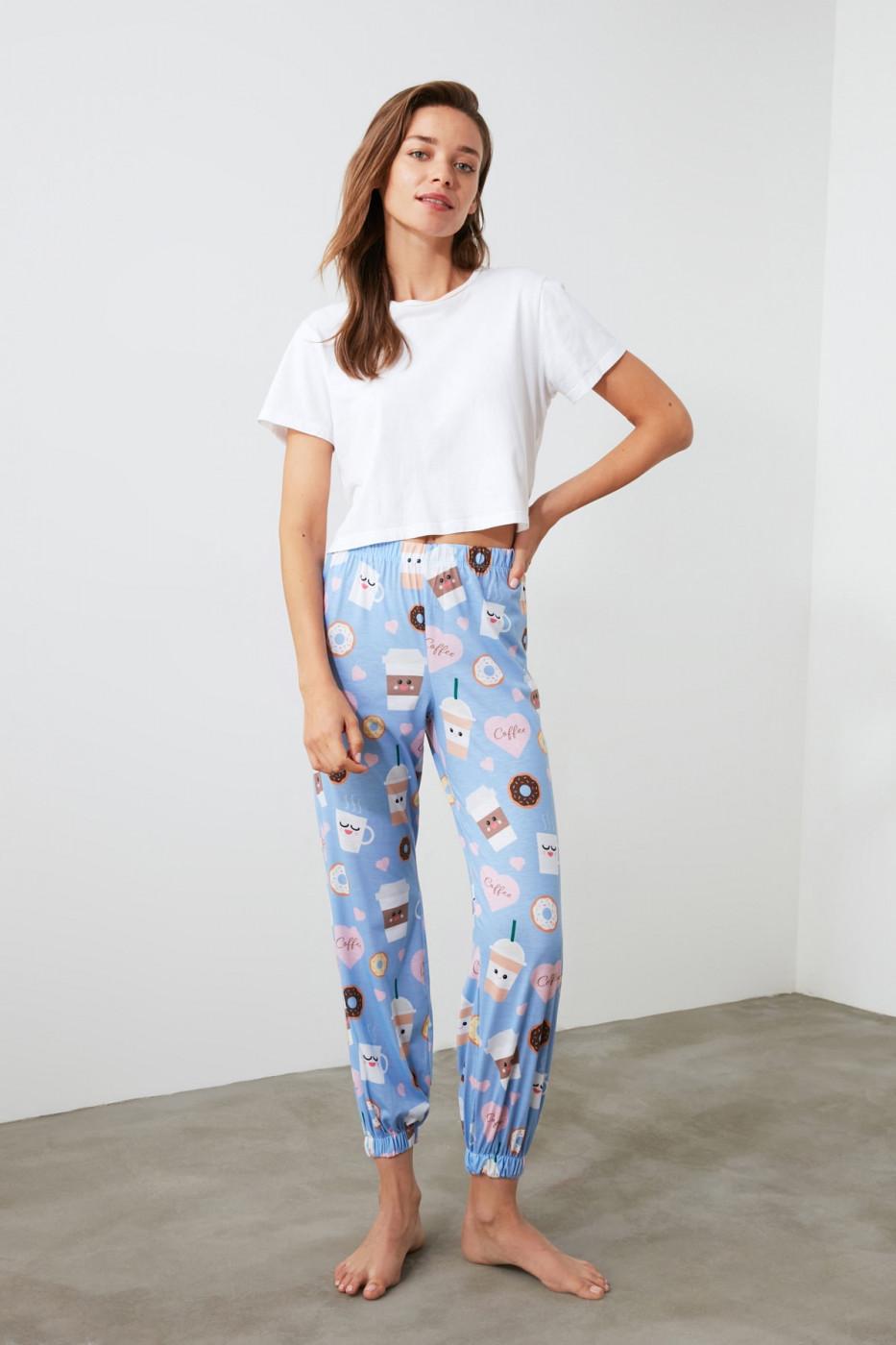 Trendyol Coffee Printed Knitted Pyjamas bottom
