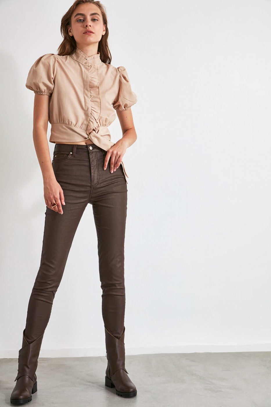 Trendyol Dark Brown Coated High Waist Skinny Jeans
