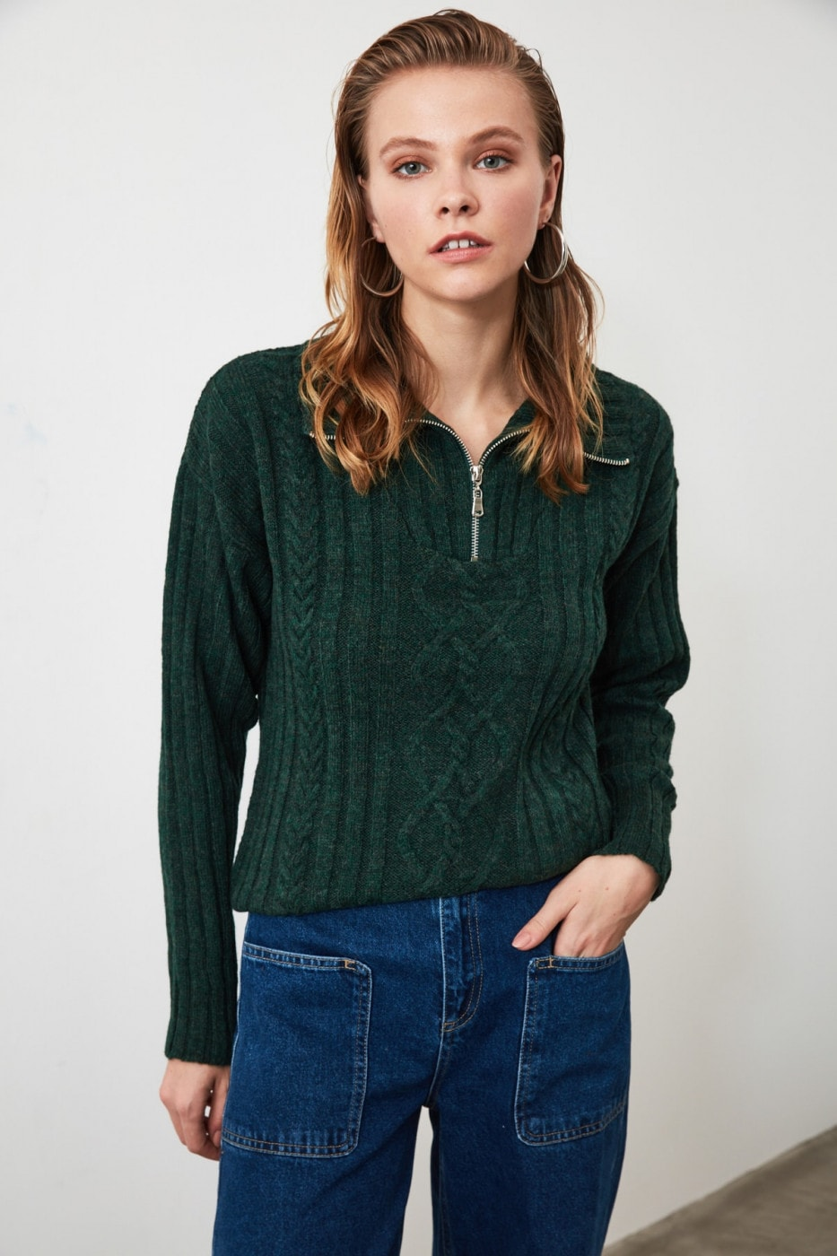 Trendyol Green ZipperK Knit Sweater