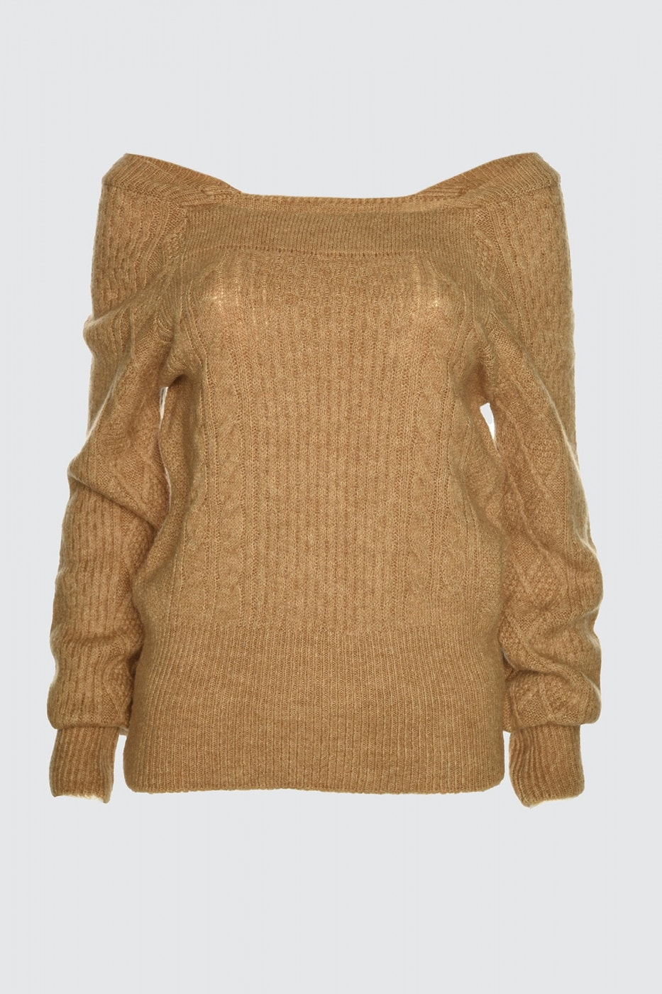 Trendyol Camel Mesh Detailed Square Collar Knit Sweater