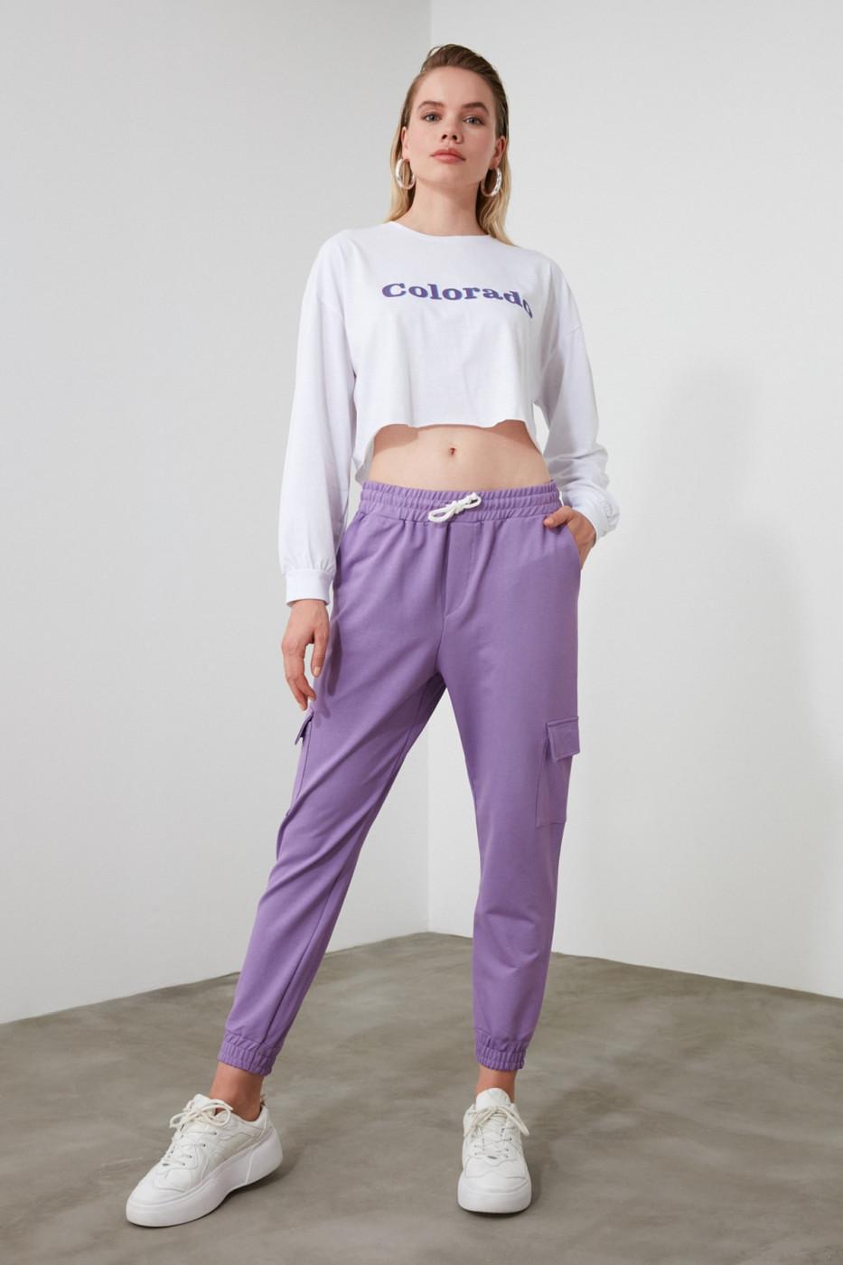 Trendyol Lila Cargo Pocket Knitted Tracksuit bottom