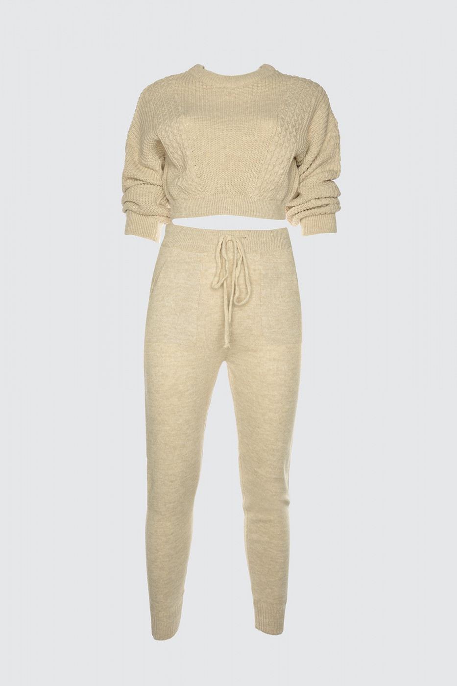 Trendyol Beige Knitted Detailed Knitwear Bottom-Top Team