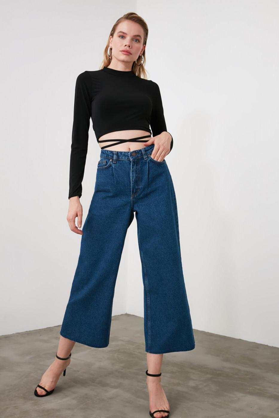 Trendyol Blue Legs High Waist Culotte Jeans