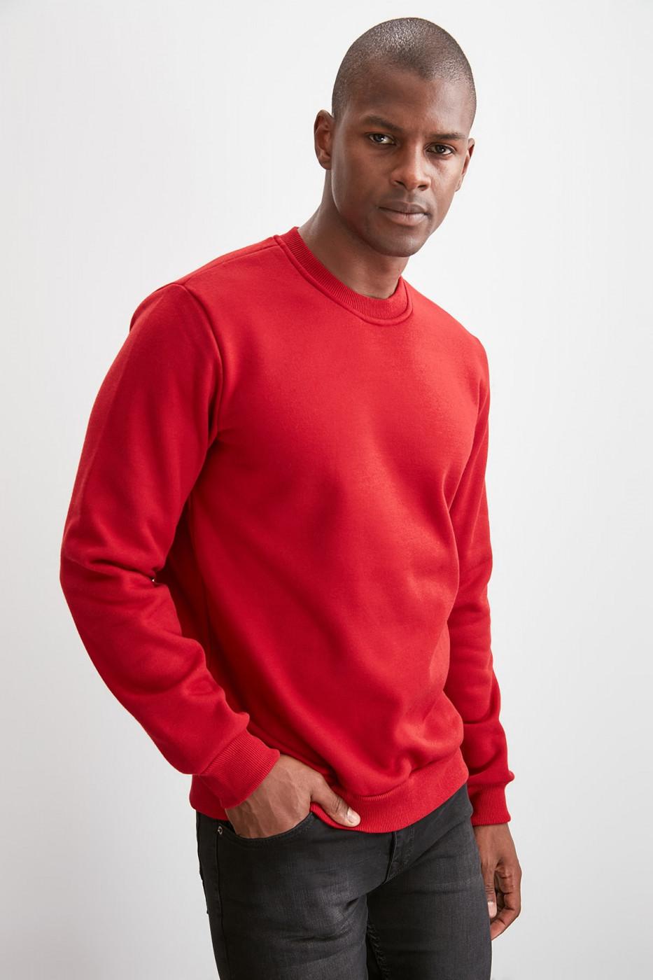 Trendyol Burgundy Basic Sweatshirt