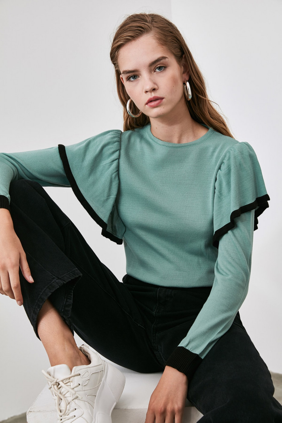 Trendyol Mint Volan Detailed Knit sweater