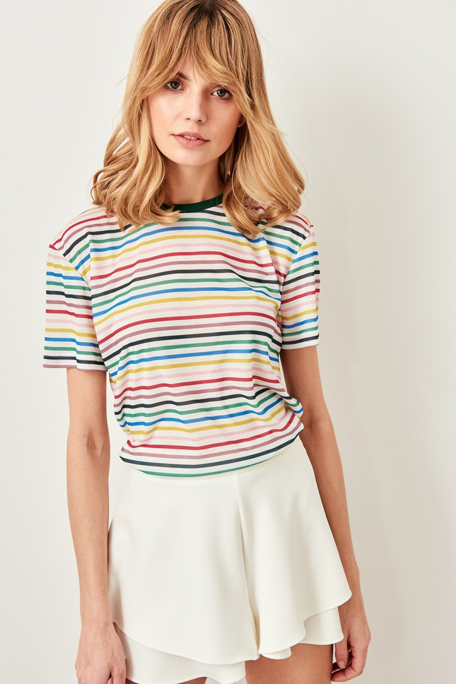 Trendyol Multicolor striped Basic Knitted T-shirt