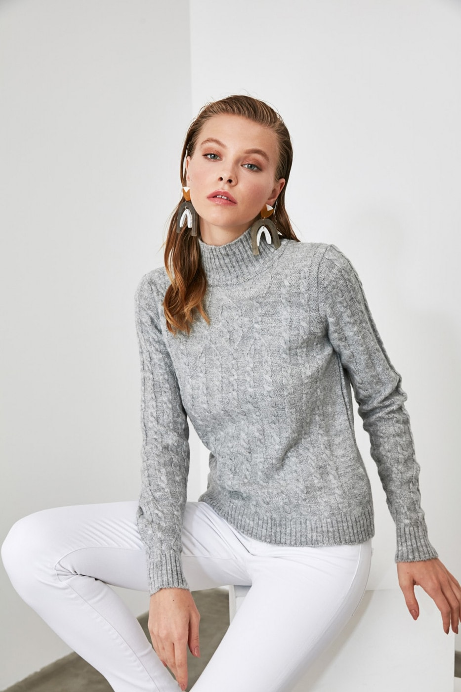 Trendyol Grey Mesh Detailed Upright Collar Knitwear Sweater
