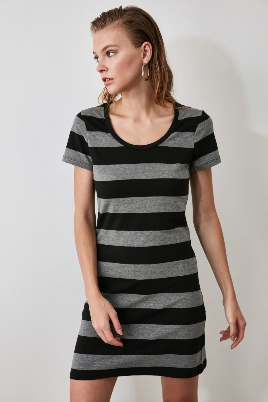Trendyol Black Striped Bicycle Collar Knitting Dress