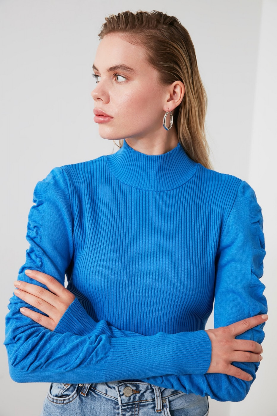 Trendyol Indigo Handle Pile Knit Sweater