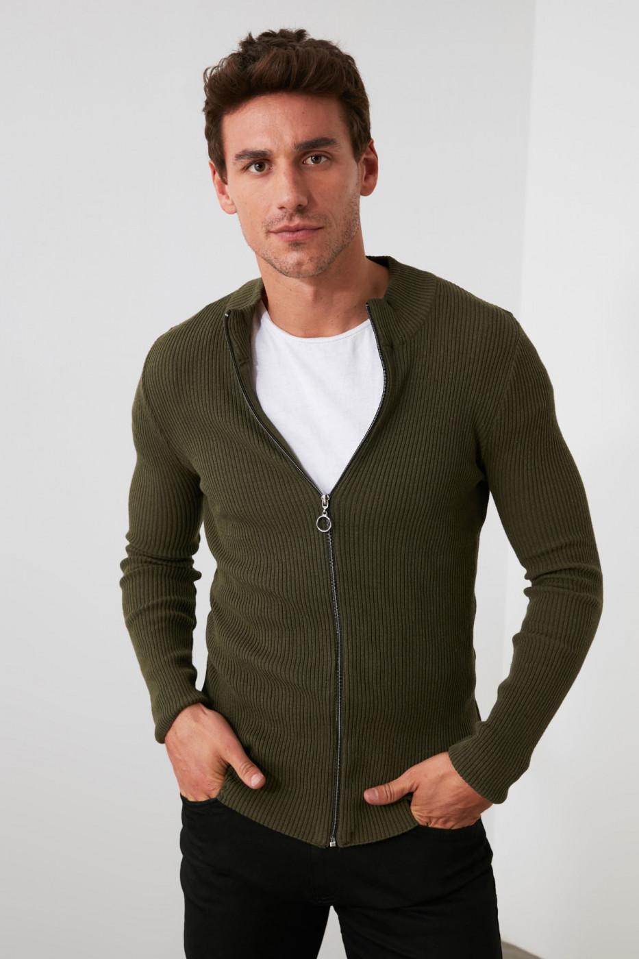 Trendyol Khaki Men's Long Sleeve Front Zippered New Cardigan