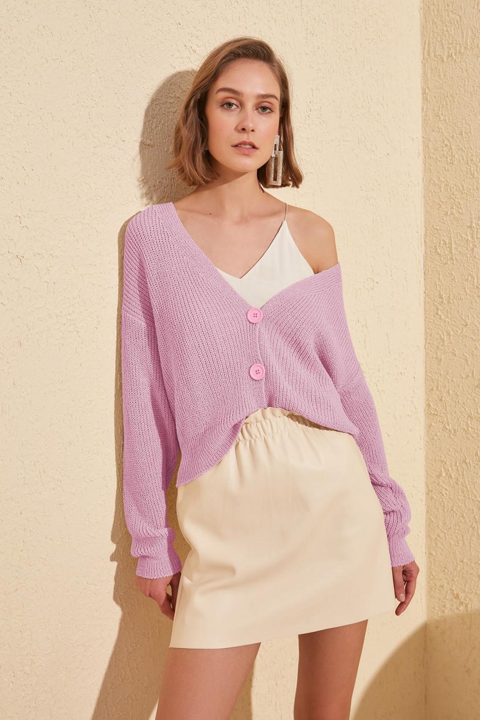 Trendyol Lila Button Detailed Cardigan