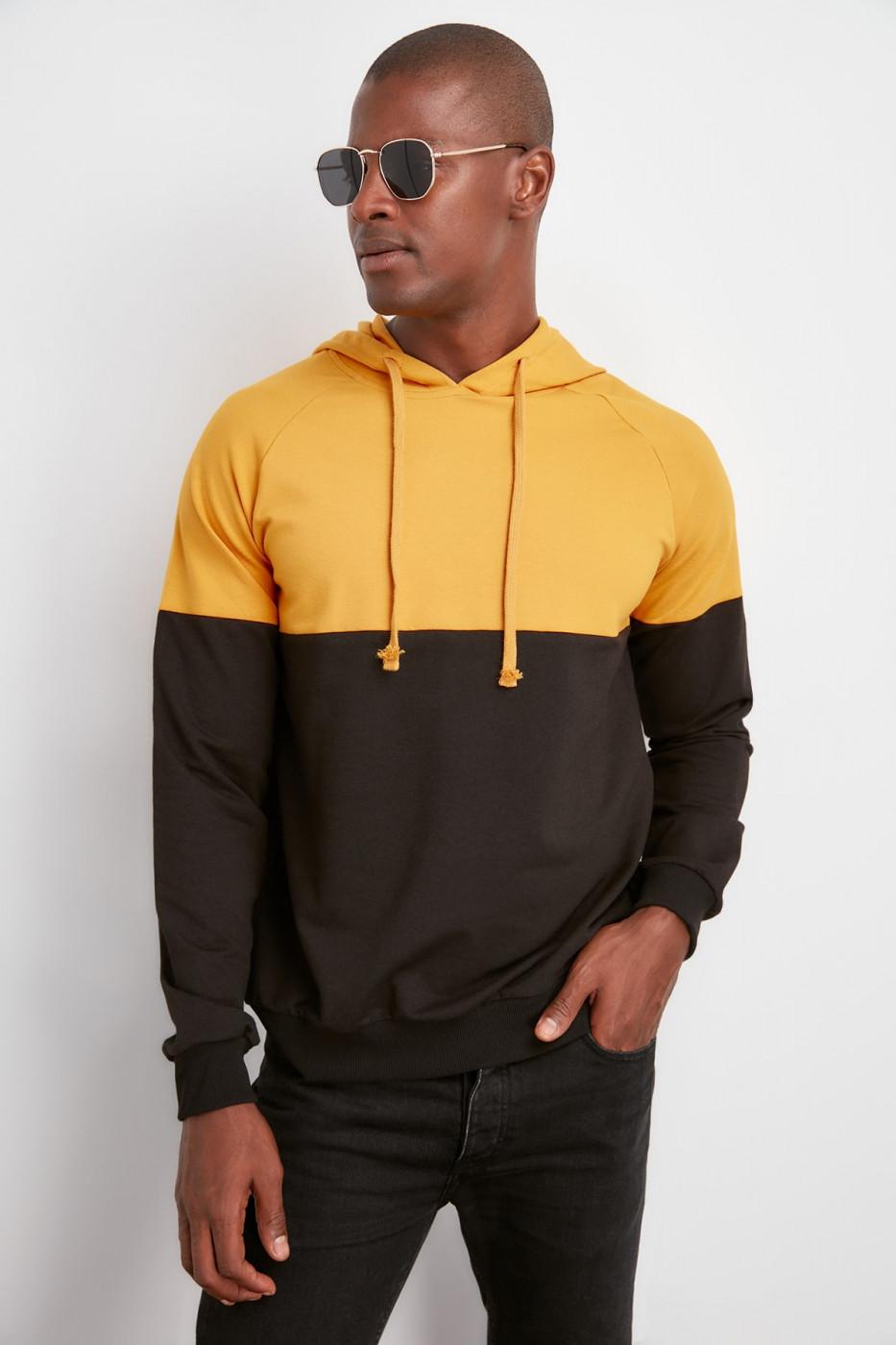 Trendyol Mustard PanelHood Hooded Sweatshirt