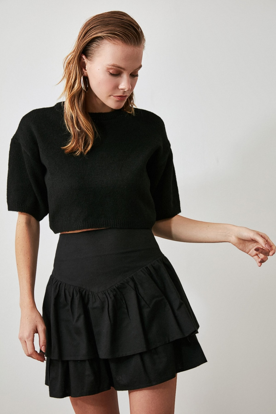 Trendyol Black Volan Skirt