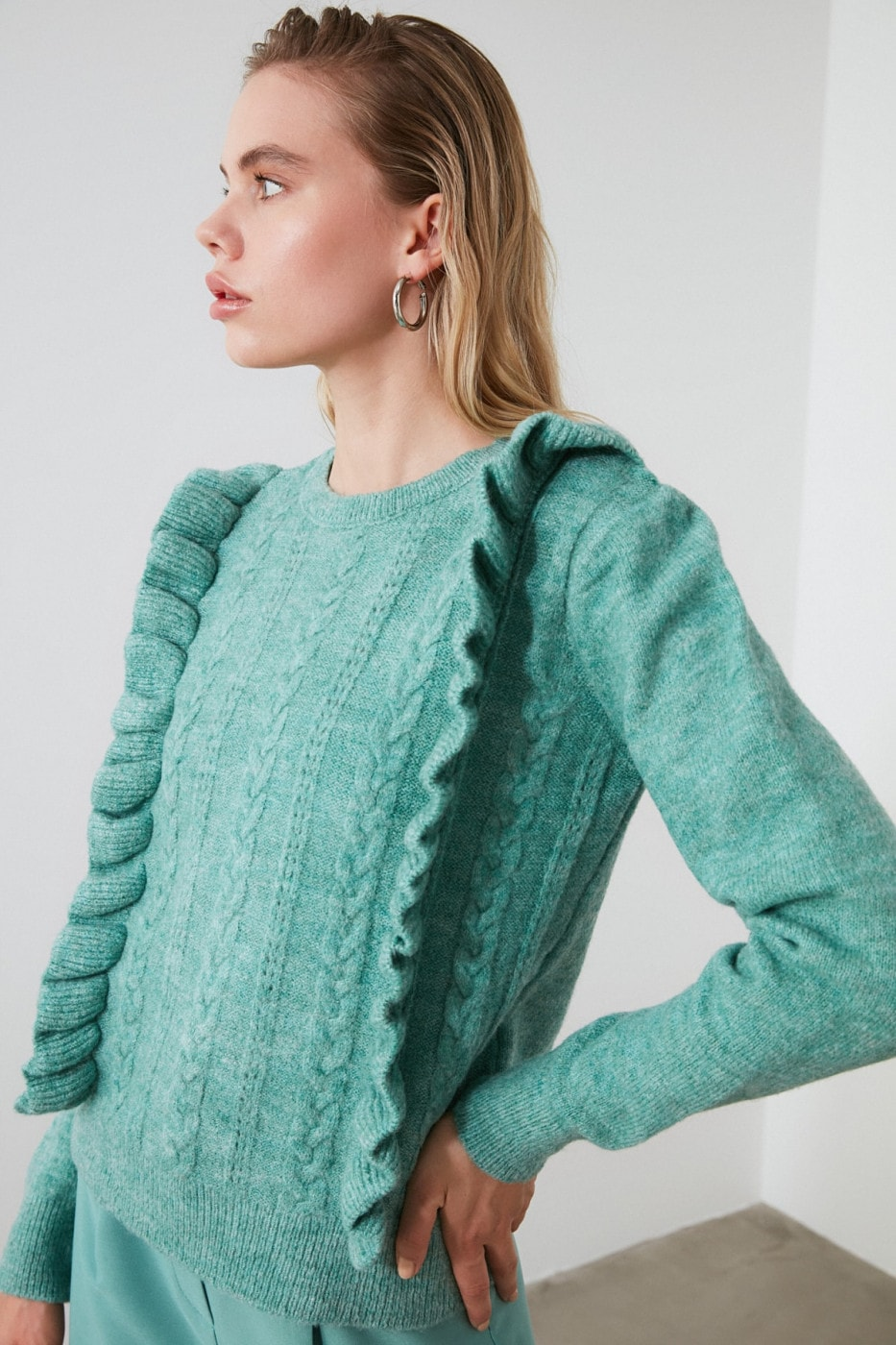 Trendyol Mint Mesh Detailed Frilled Knit sweater