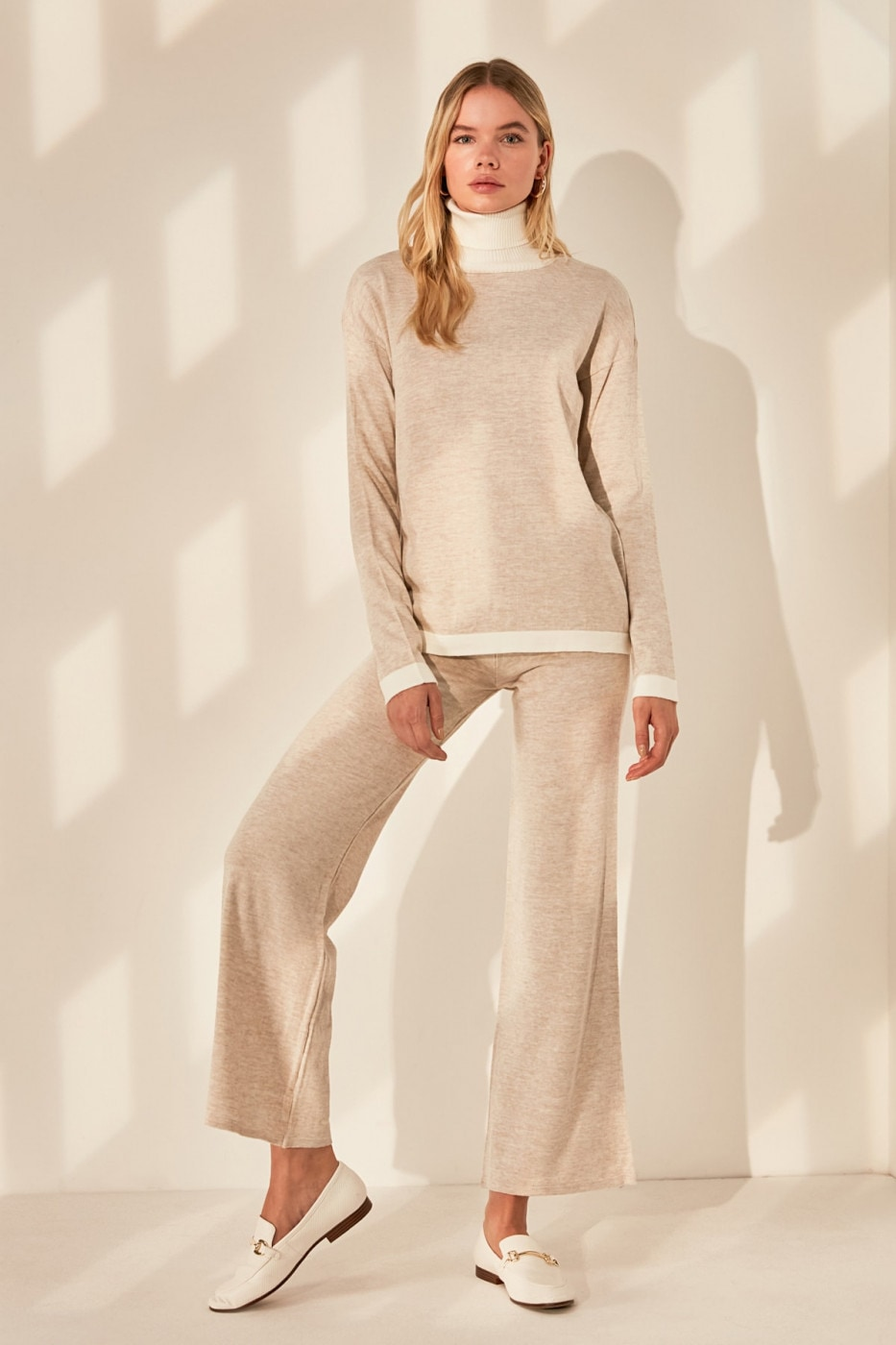Trendyol Beige Sweater Pants Knitwear Bottom-Top Team