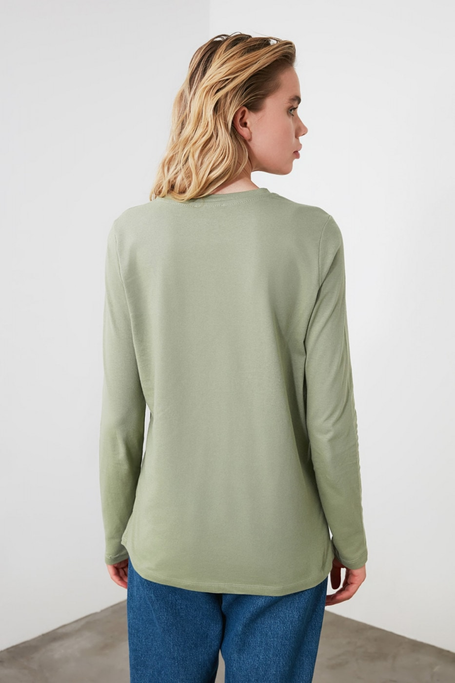 Trendyol Mint Printed Basic Long Sleeve Knitting T-shirt