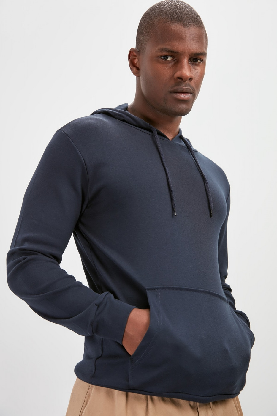 Trendyol Navy Blue Men's Hooded Long Sleeve Kangaroo Pocket Basic New Sweatshirt