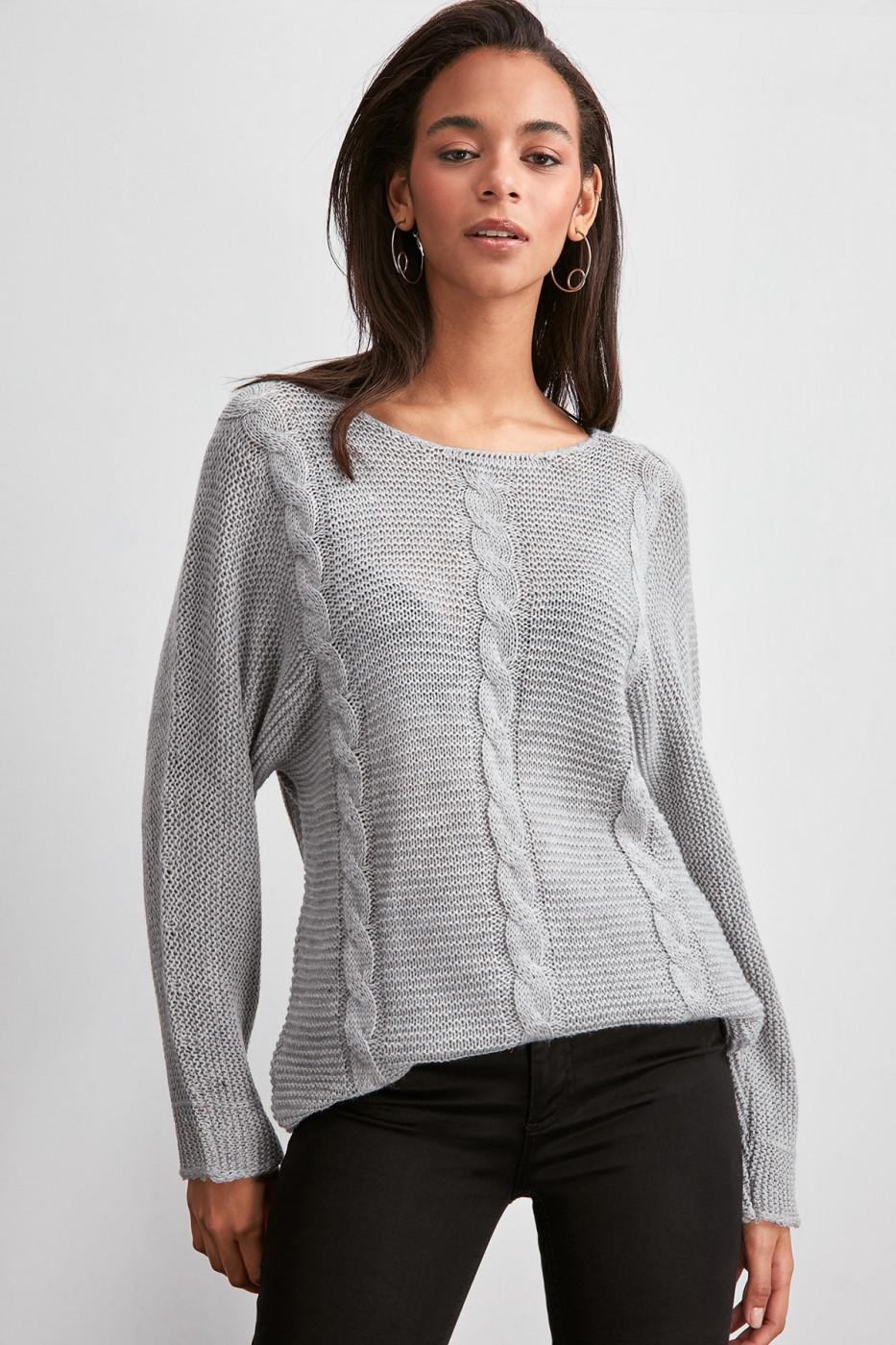 Trendyol Grey Knitted Detailed Knitwear Sweater