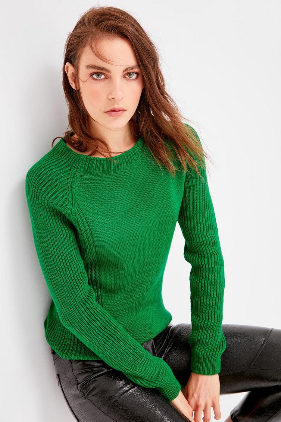 Trendyol Green Bicycle Collar Basic Knitwear Sweater