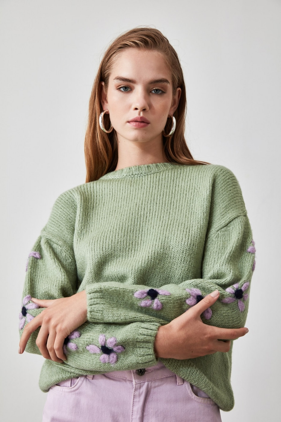 Trendyol Mint Embroidered Knit Sweater