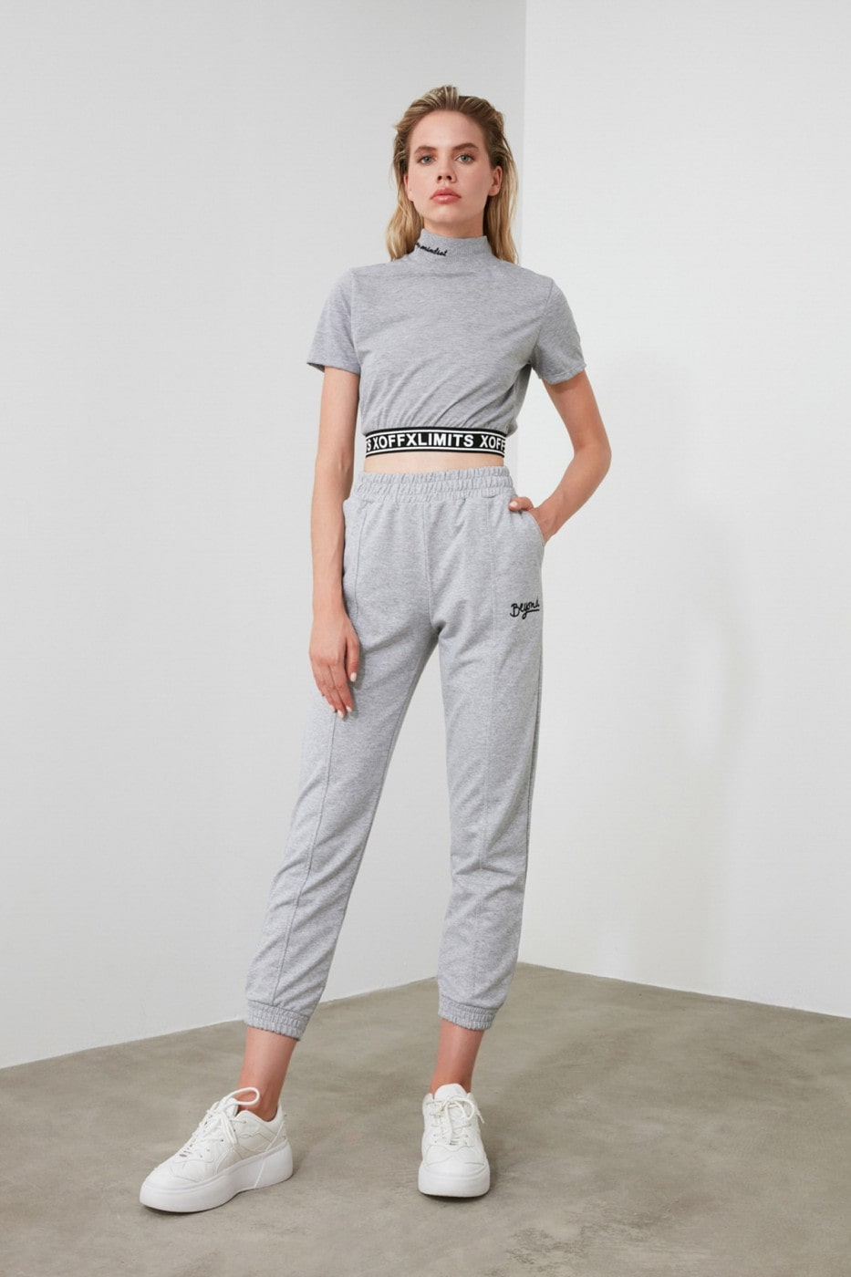 Trendyol Grey Embroidered Knitted Tracksuit bottom