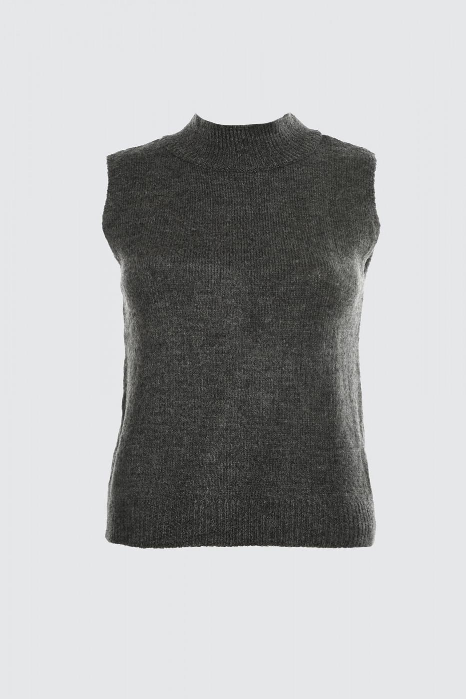 Trendyol Anthracite Upright Collar Sleeveless Knit Sweater