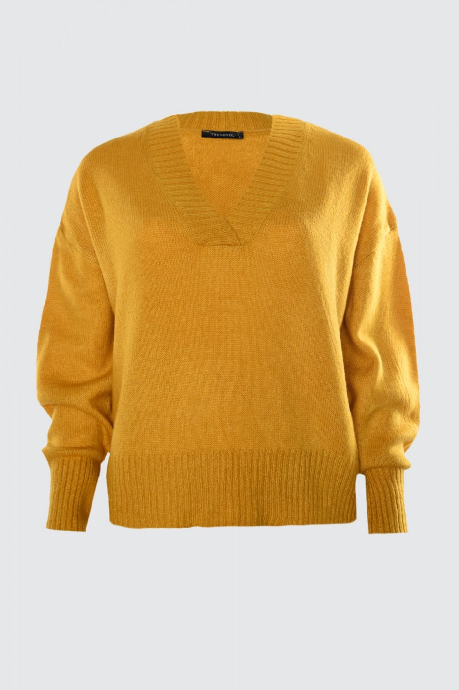Trendyol Yellow V Collar Knit Sweater