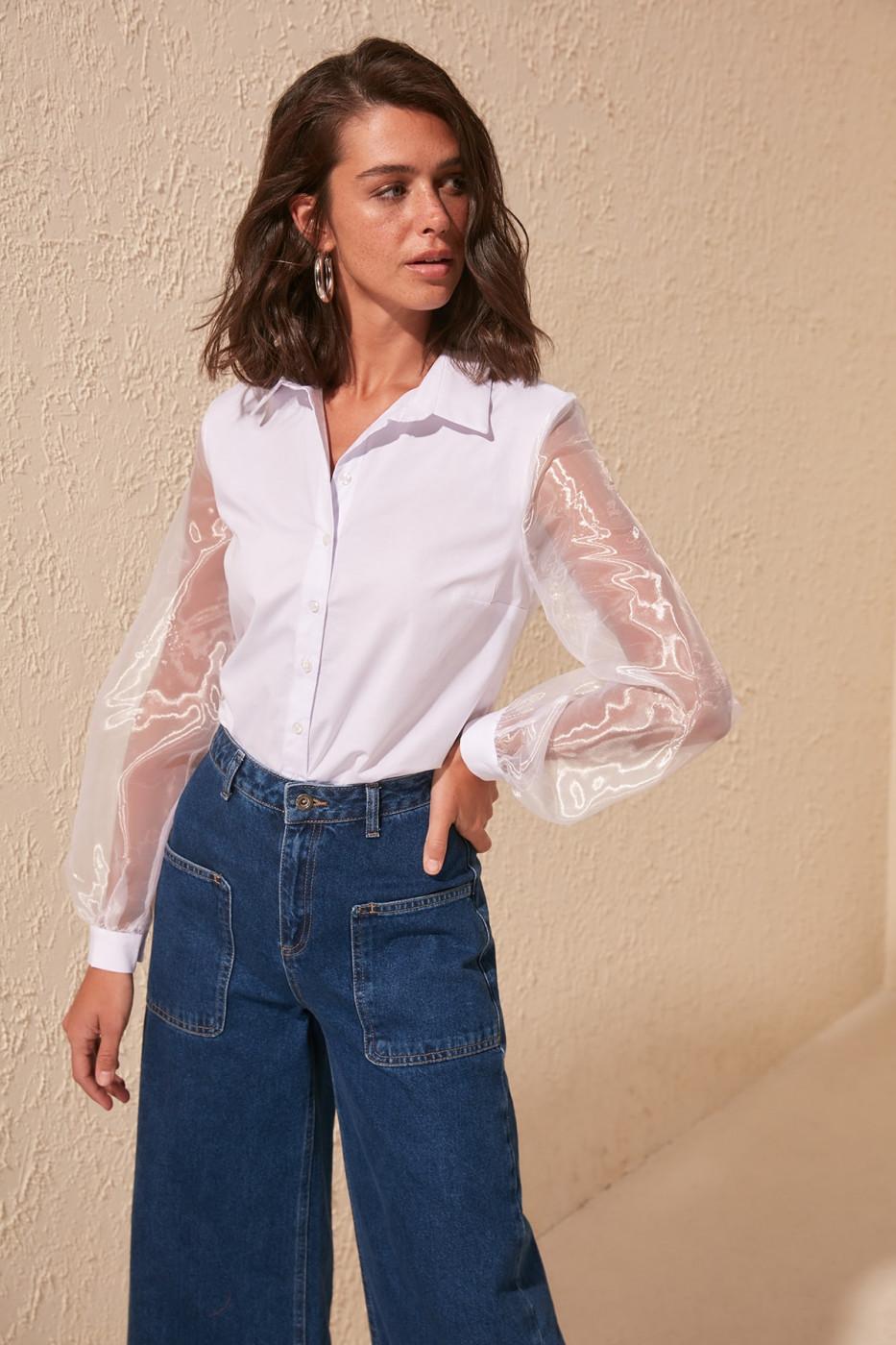 Trendyol White Organza Sleeve Shirt