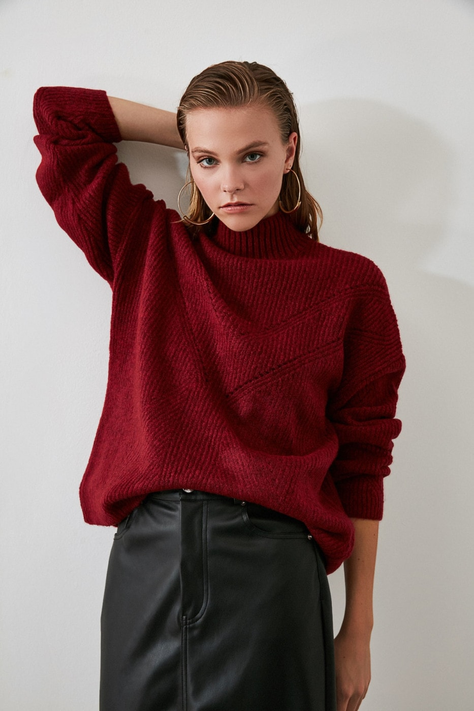 Trendyol Burgundy Knitted Knit Sweater