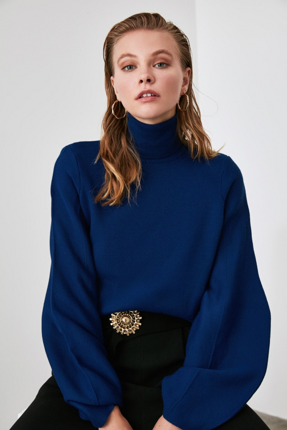 Trendyol Navy Strait Knit Sweater