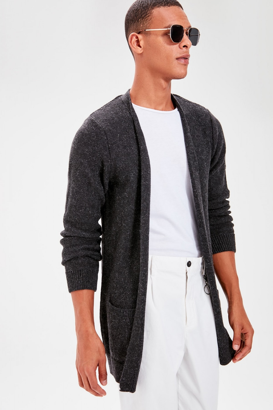 Trendyol Anthracite Men's Long Cardigan