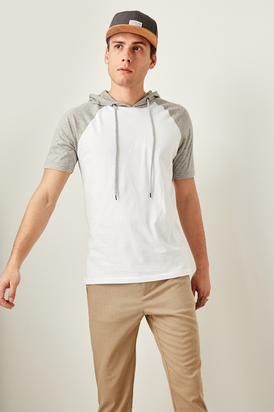 Trendyol Gray men's Hooded t-shirt