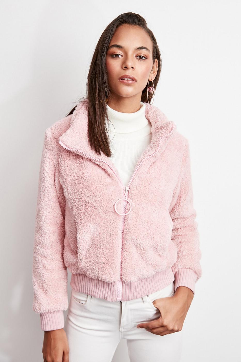 Trendyol Pink Ribana Detailed Zipper Plush Coat