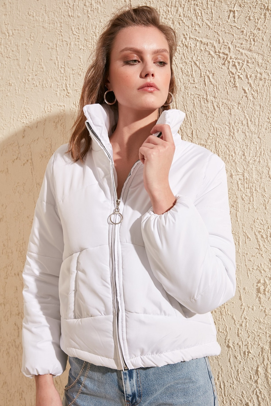 Trendyol White Zipper Closed Inflatable Coat