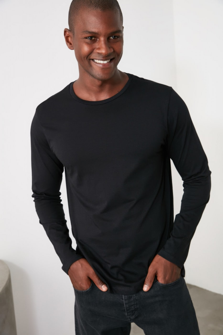 Trendyol Black Bike Collar Long Sleeve Basic T-Shirt