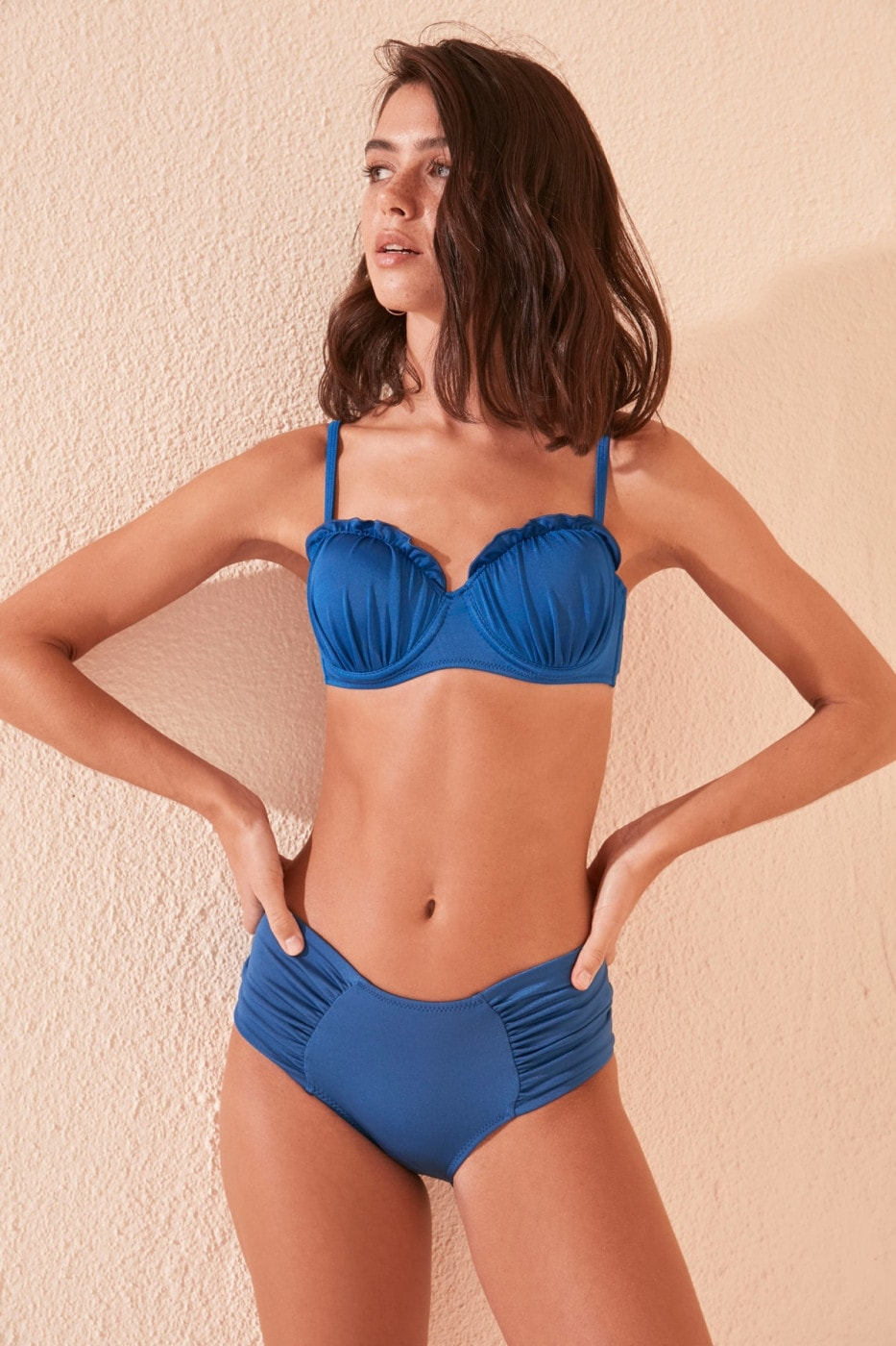 Trendyol Indigo Gathered Bikini bottom