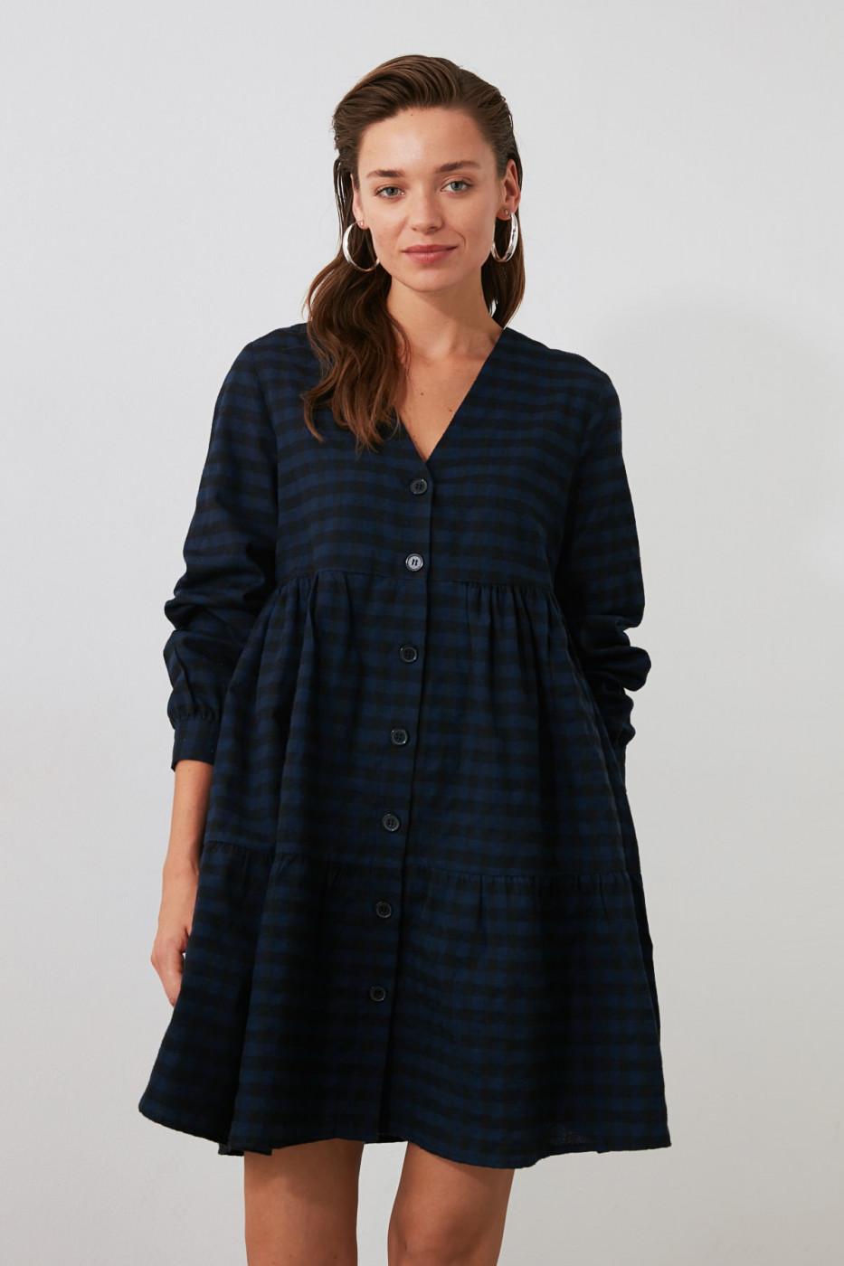 Trendyol Indigo Checkered Shirt Dress