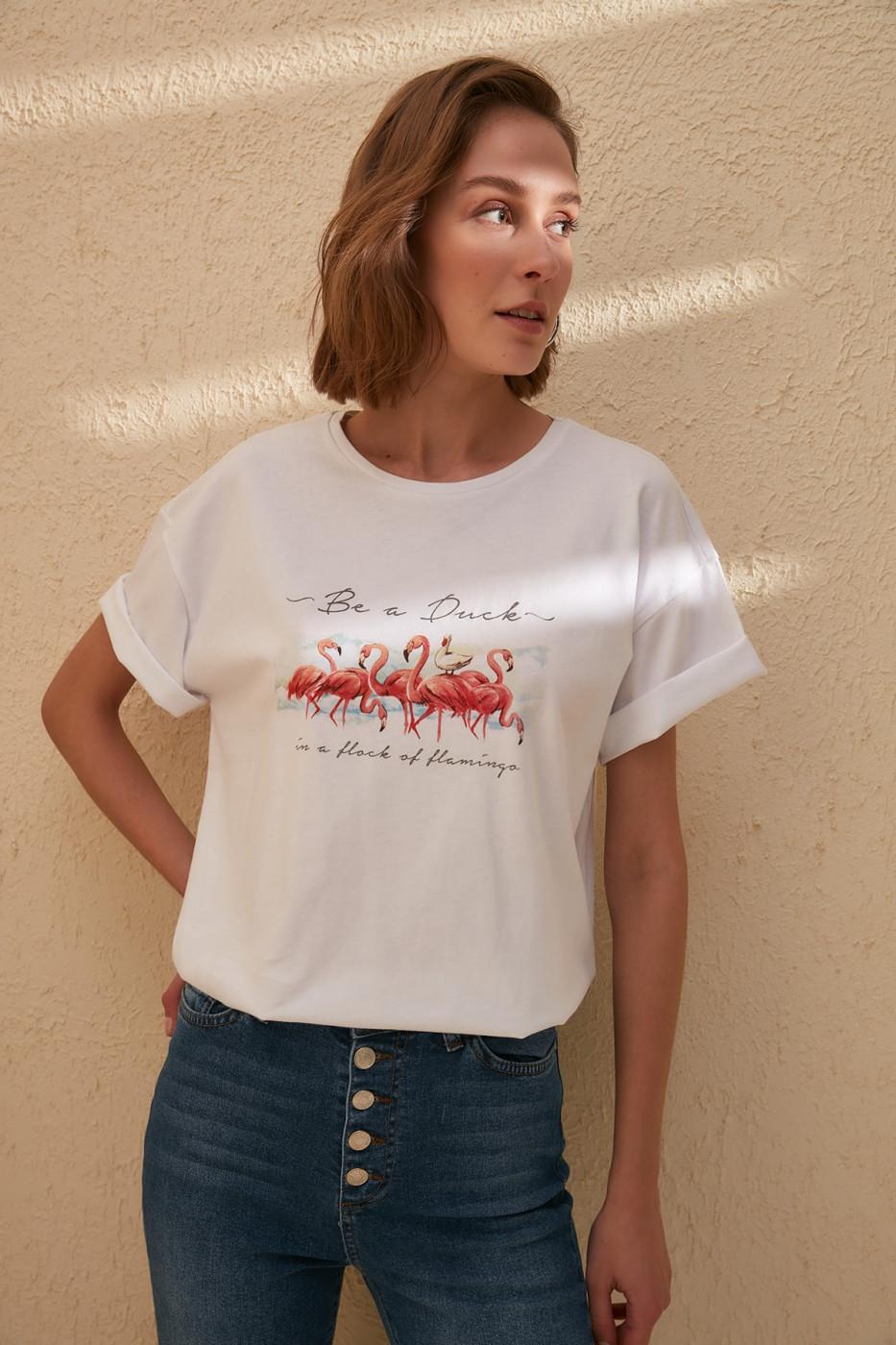 Trendyol White Print DetailBoyfriend Knitted T-Shirt