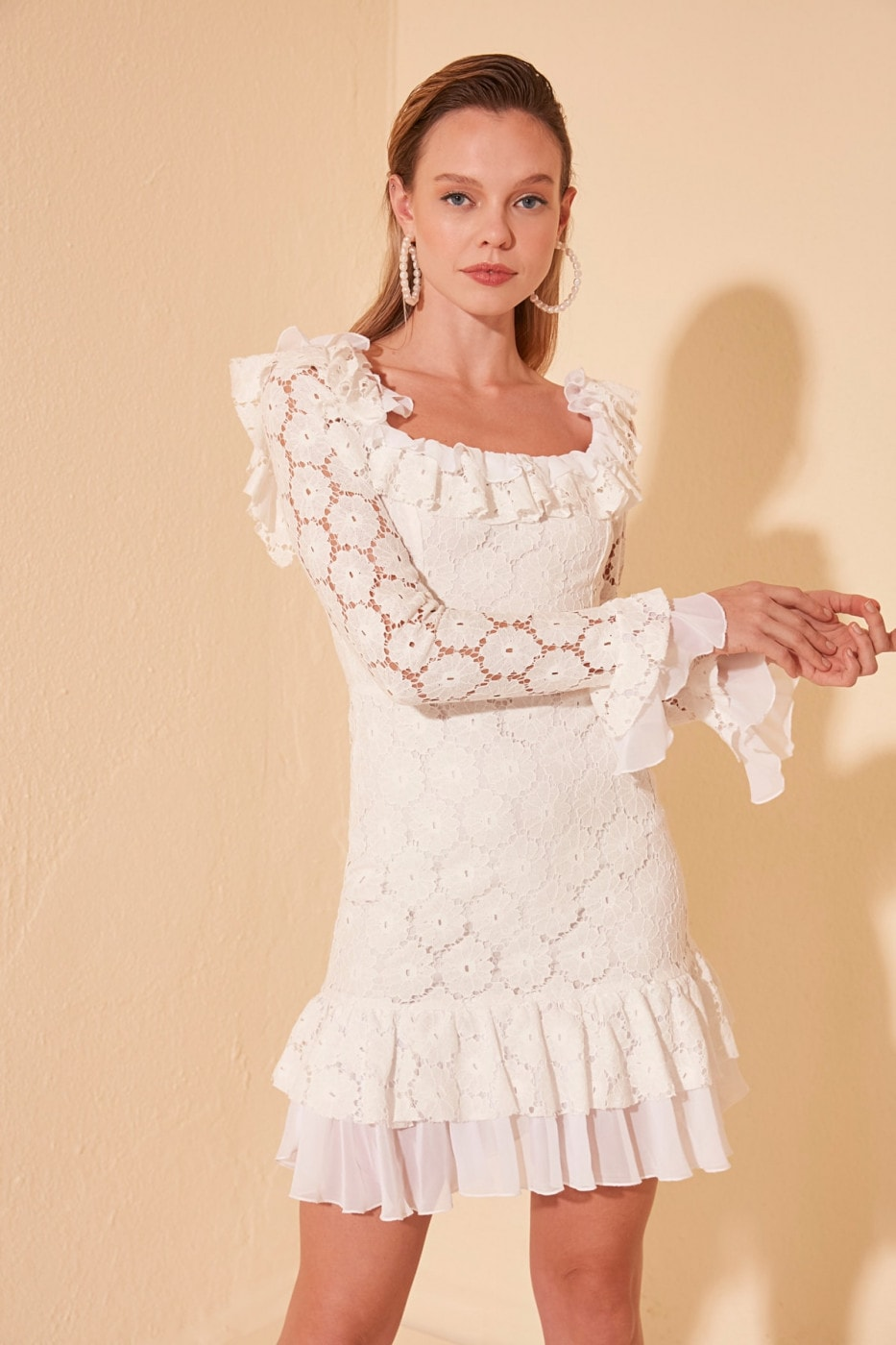 Trendyol Ekru Volan Detailed Lace Dress
