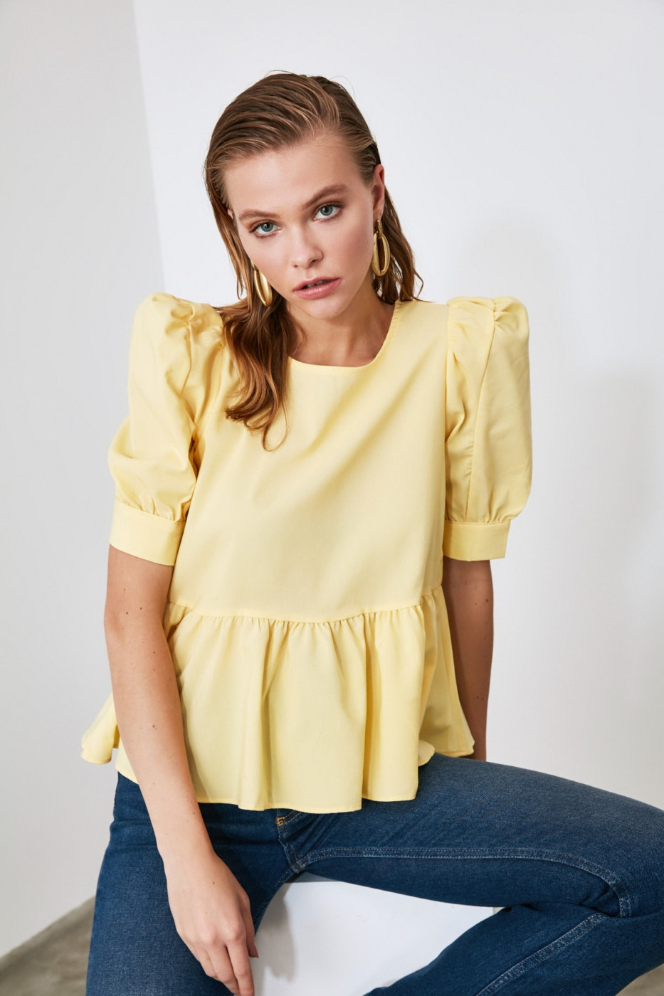 Trendyol Yellow Frill Detailed Blouse