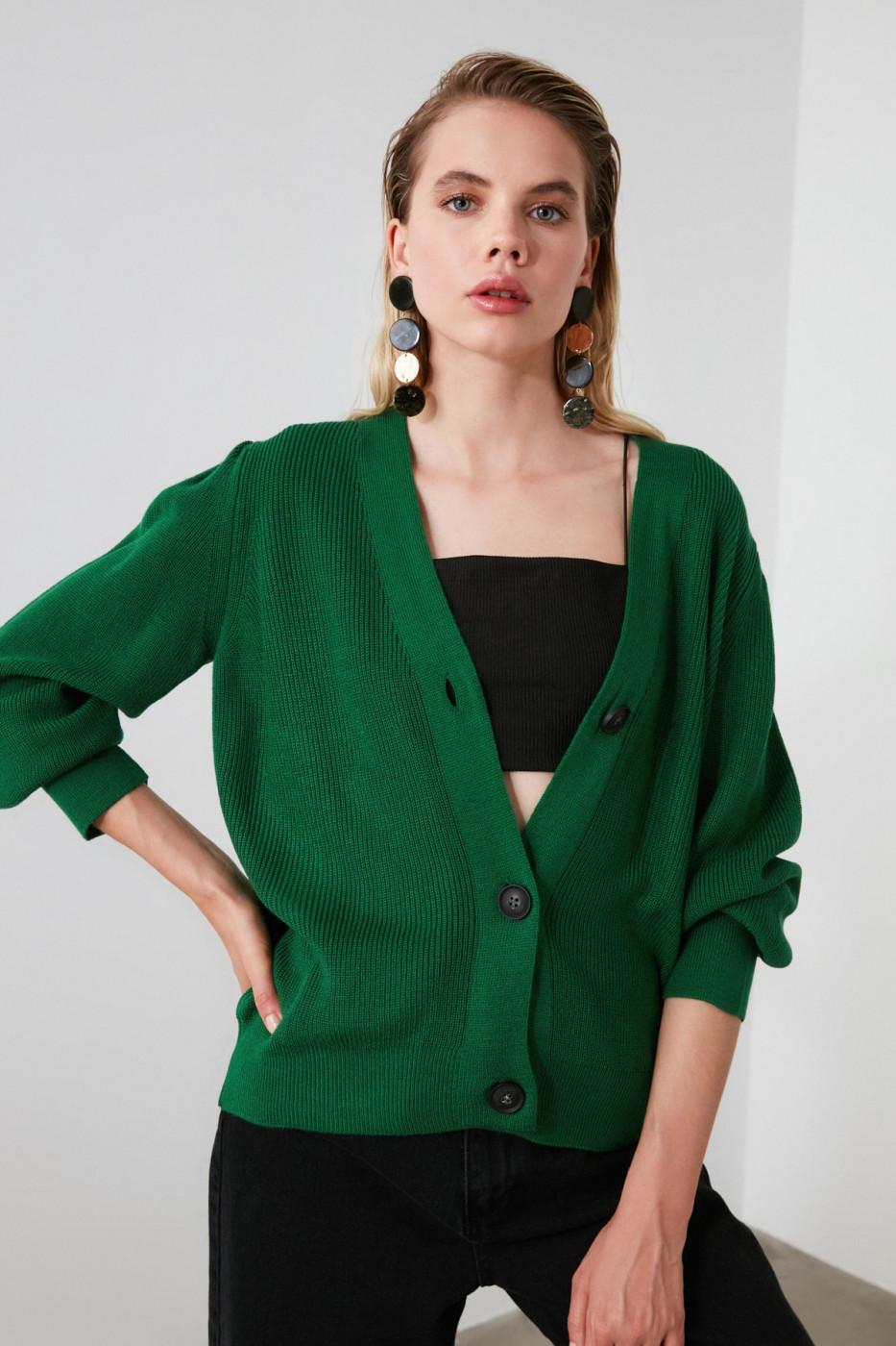 Trendyol Green Button Knitwear Cardigan