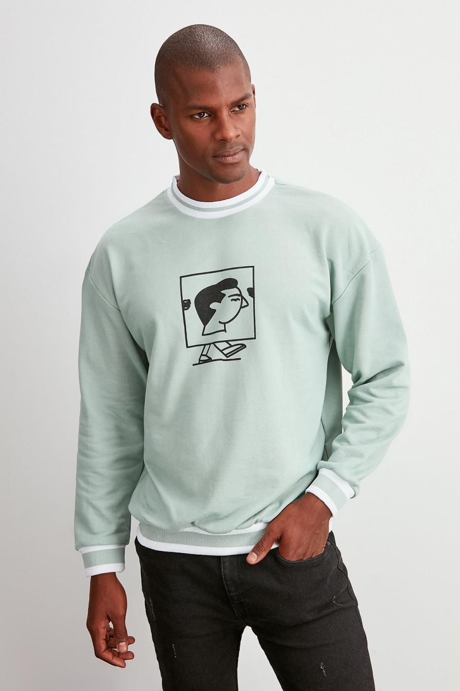 Trendyol Mint Men's Printed Bicycle Collar Sweatshirt