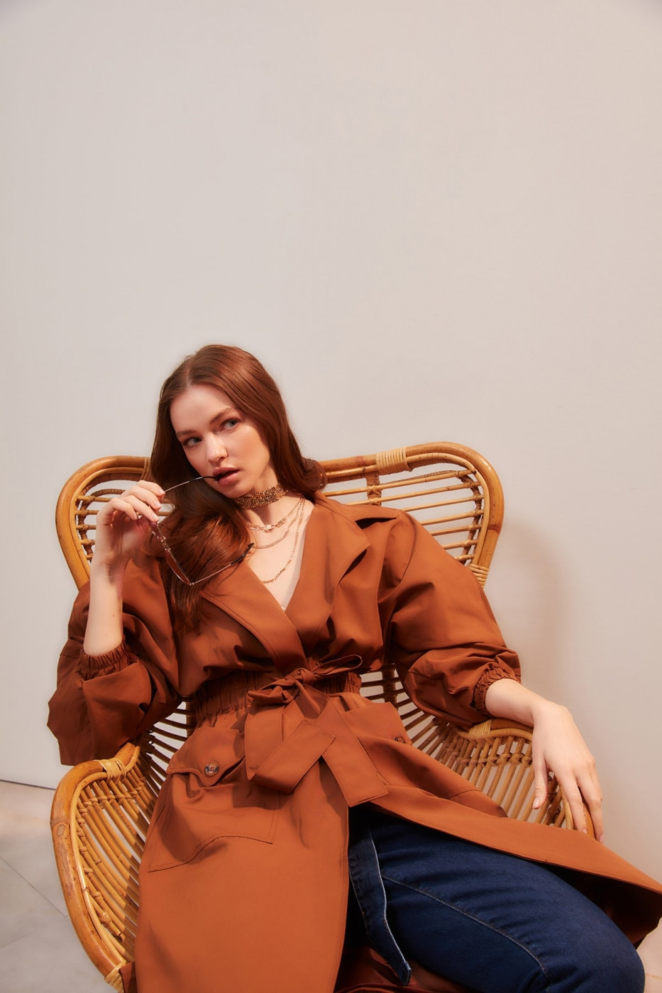 Trendyol Brown Waist Pucker and Belt Detailed Long Trench Coat