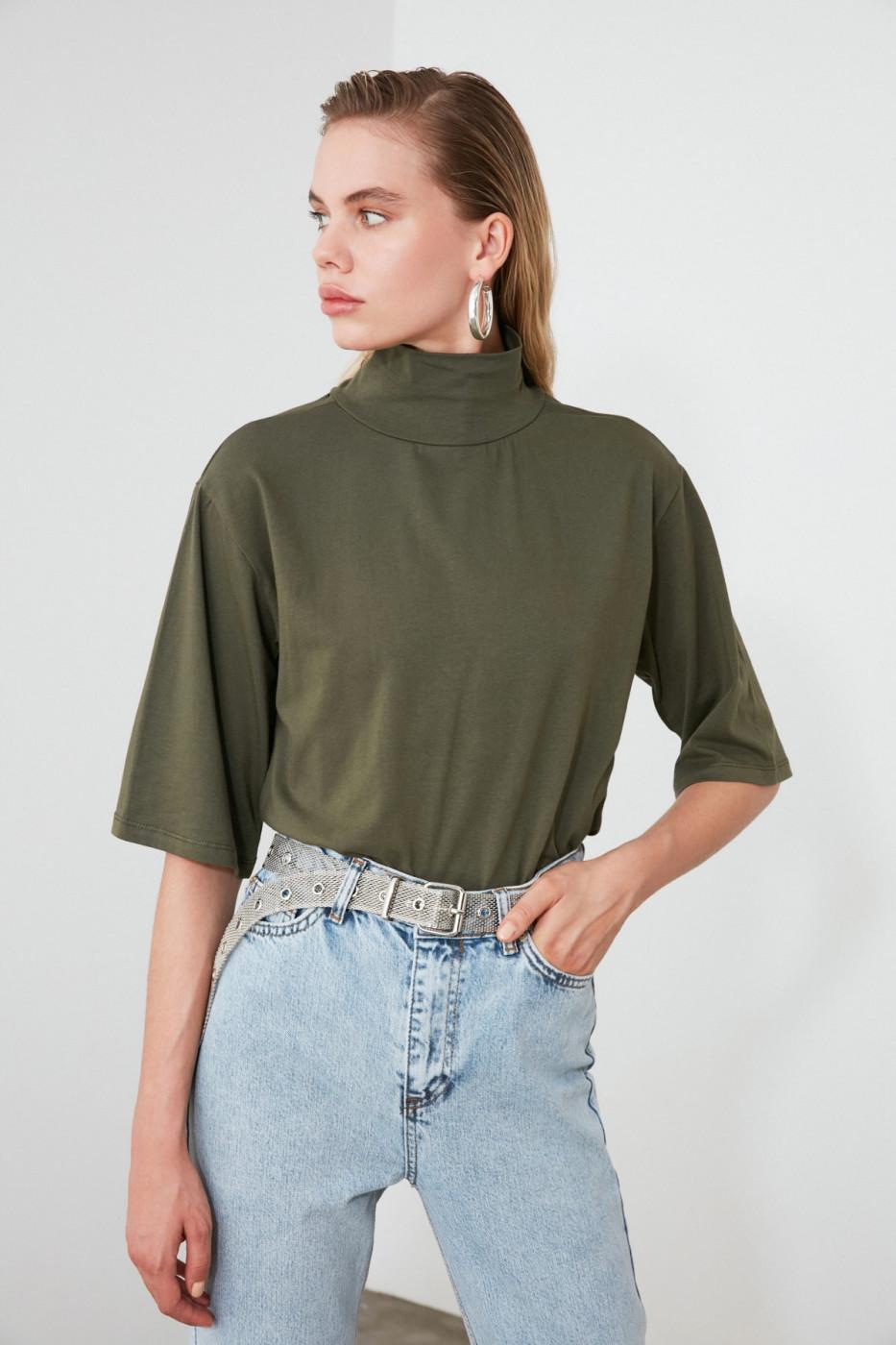 Trendyol Khaki Steep Collar Knitted Blouse