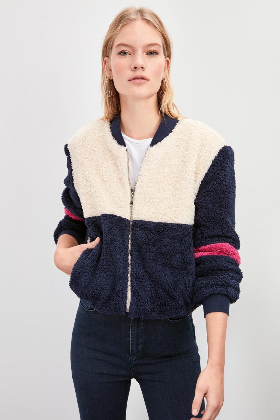 Trendyol Indigo Ribana Detailed Color Block Soft Plush Coat