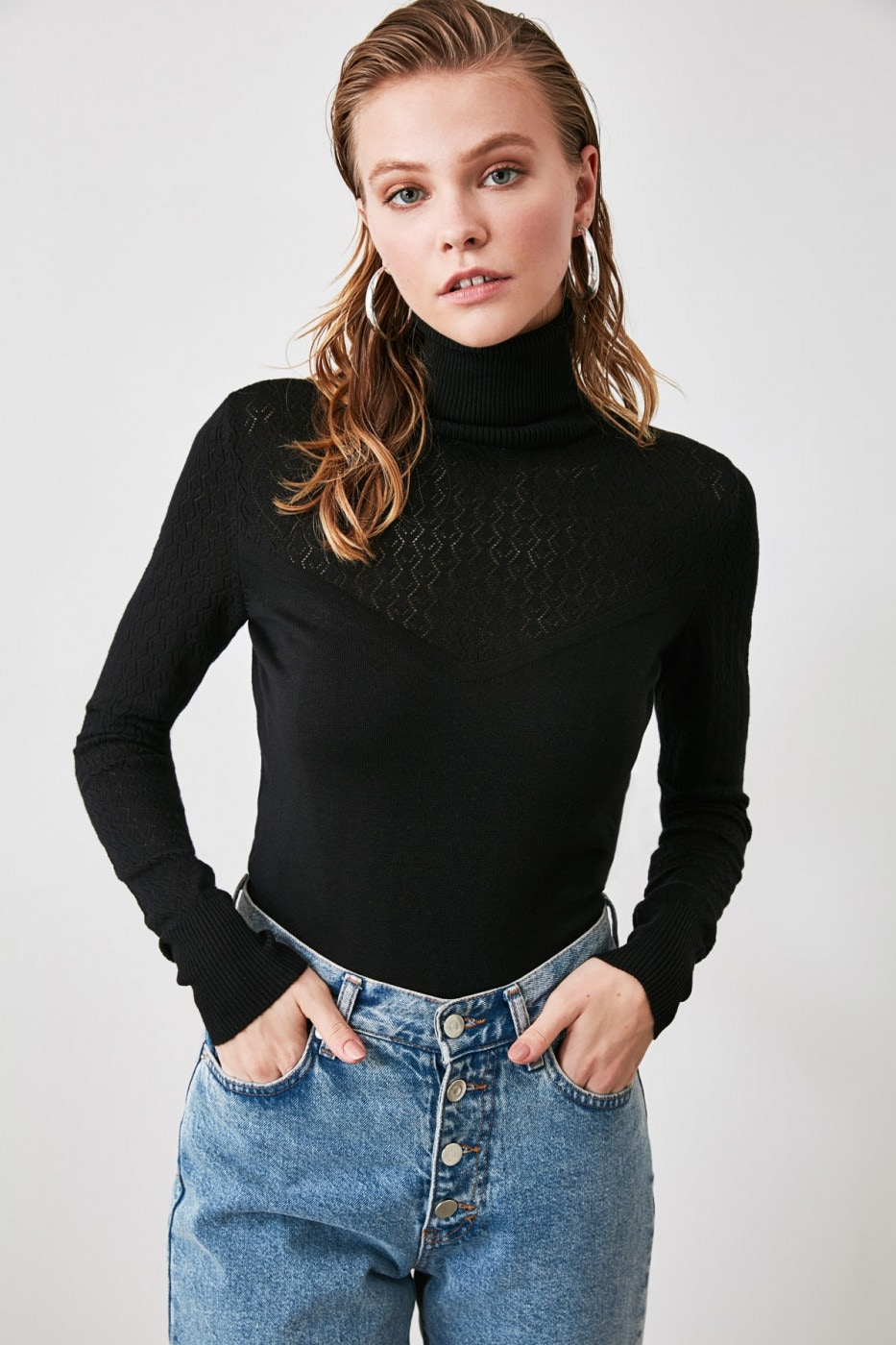Trendyol Black Blindturtle Fisherman's Collar KnitSweater